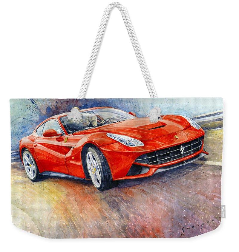 Watercolor Weekender Tote Bag featuring the painting 2014 Ferrari F12 Berlinetta by Yuriy Shevchuk