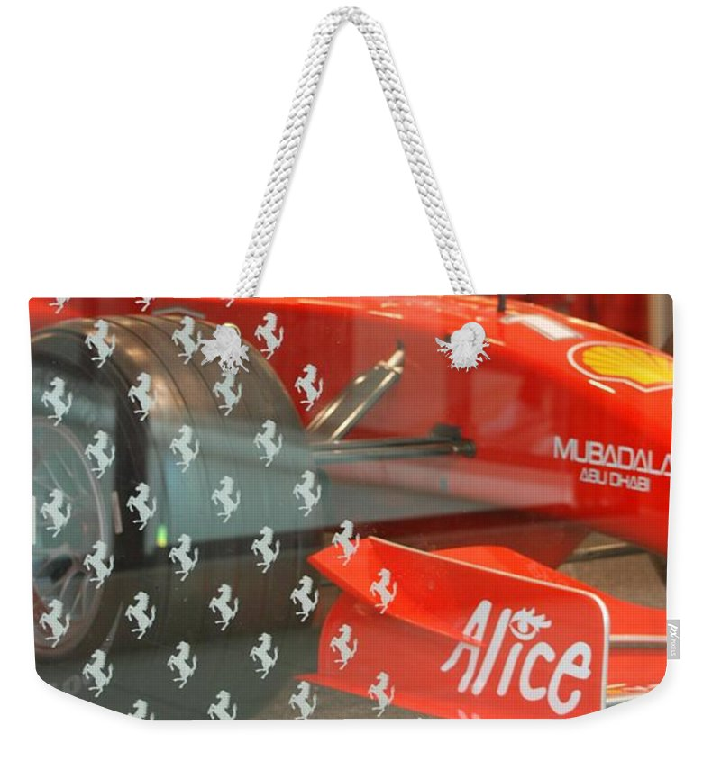 Stallions Weekender Tote Bag featuring the photograph Ferrari Formula One by Rob Hans