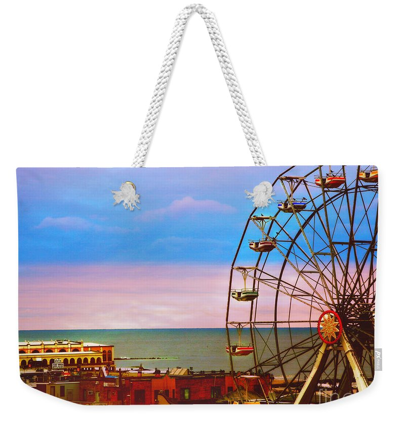 Ocean City Ferris Wheel Weekender Tote Bag featuring the photograph Ocean City New Jersey Ferris Wheel And Music Pier by Beth Ferris Sale