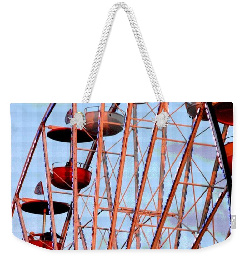 Ferris Wheel Weekender Tote Bag featuring the photograph Ferris Wheel At Sunset by Joe Kozlowski