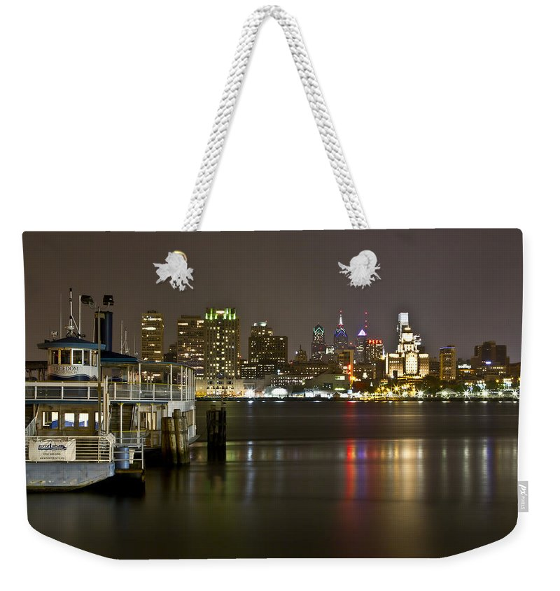 City Weekender Tote Bag featuring the photograph Ferry To The City Of Brotherly Love by Paul Watkins