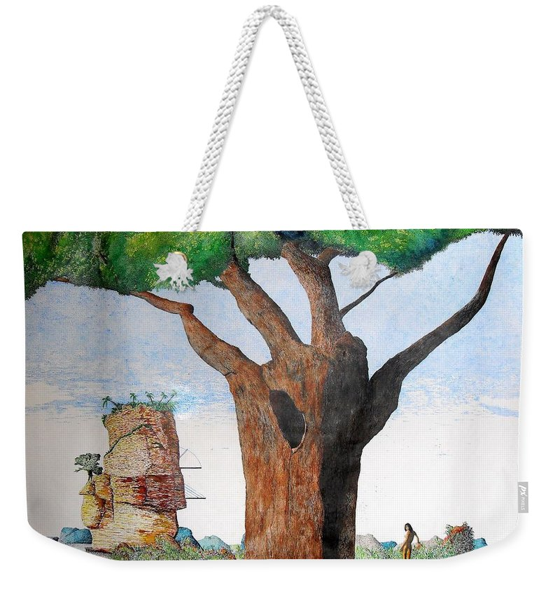 Landscape Weekender Tote Bag featuring the painting Fertile Worlds by A Robert Malcom