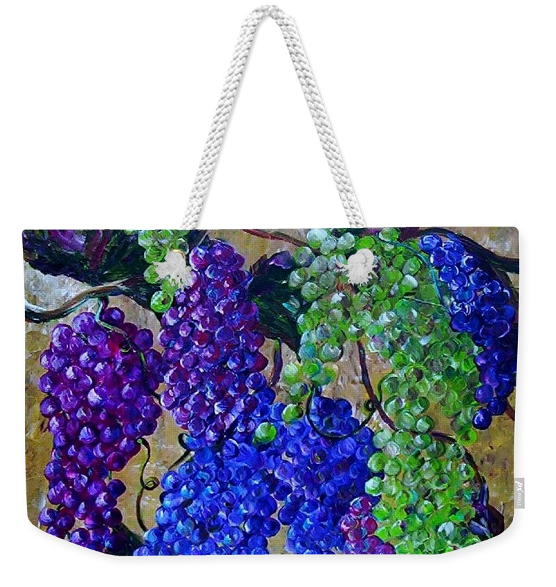 Grapes Weekender Tote Bag featuring the painting Festival Of Grapes by Eloise Schneider