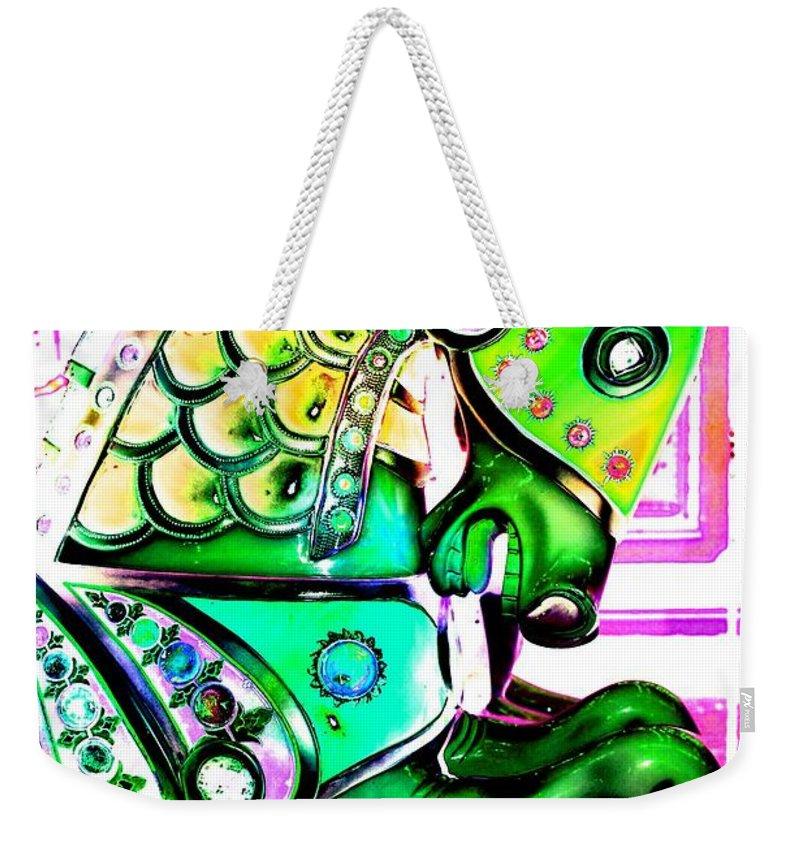 Carousel Weekender Tote Bag featuring the digital art Festive Green Carnival Horse by Patty Vicknair