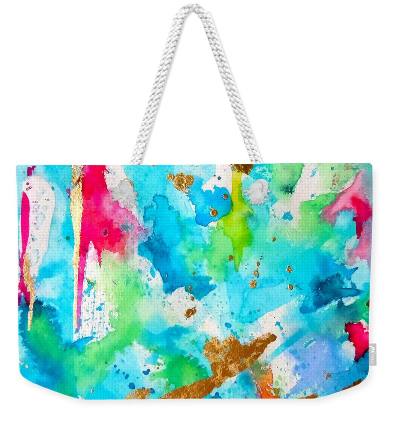 Abstract Painting Weekender Tote Bag featuring the painting Festive by Roleen Senic