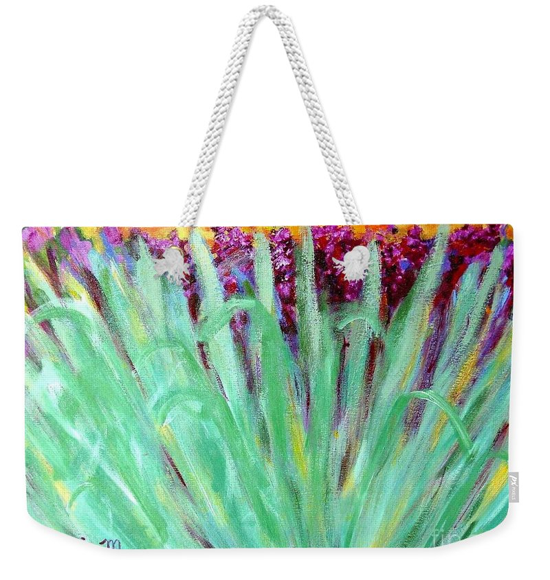 Abstract Weekender Tote Bag featuring the painting Festoon by Laurie Morgan