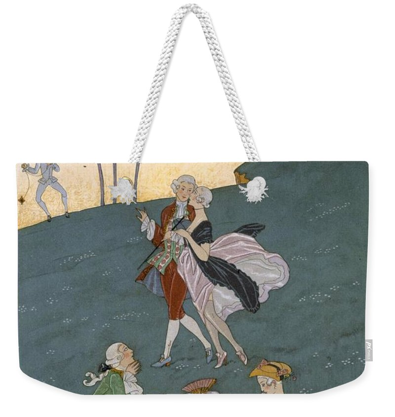 Poem Weekender Tote Bag featuring the painting Fetes Galantes by Georges Barbier