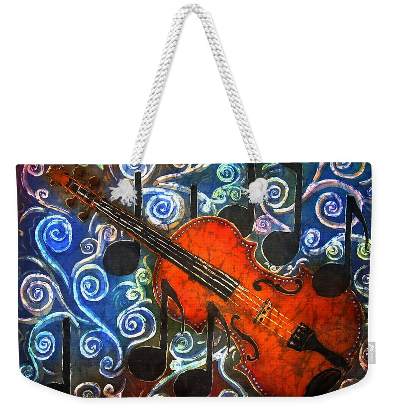 Fiddle Weekender Tote Bag featuring the painting Fiddle - Violin by Sue Duda