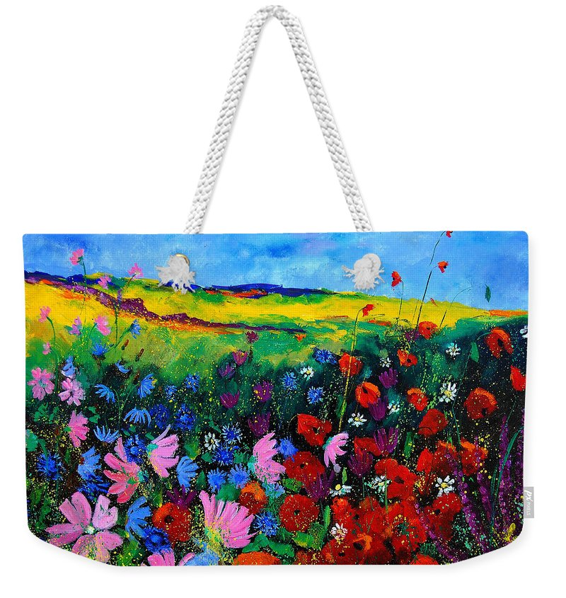 Poppies Weekender Tote Bag featuring the painting Field flowers by Pol Ledent