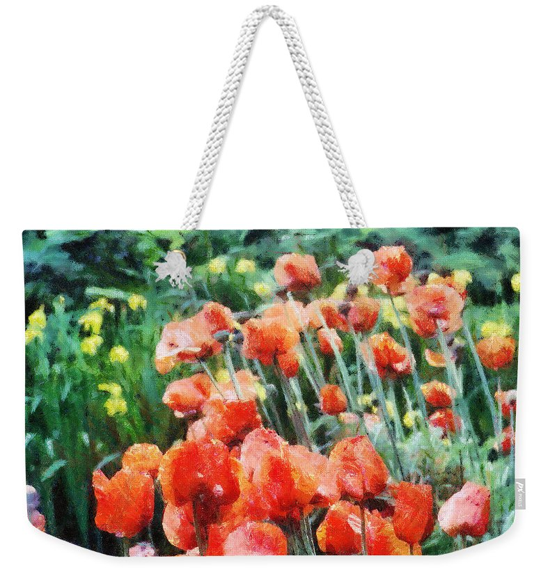 Canadian Weekender Tote Bag featuring the painting Field Of Flowers by Jeffrey Kolker