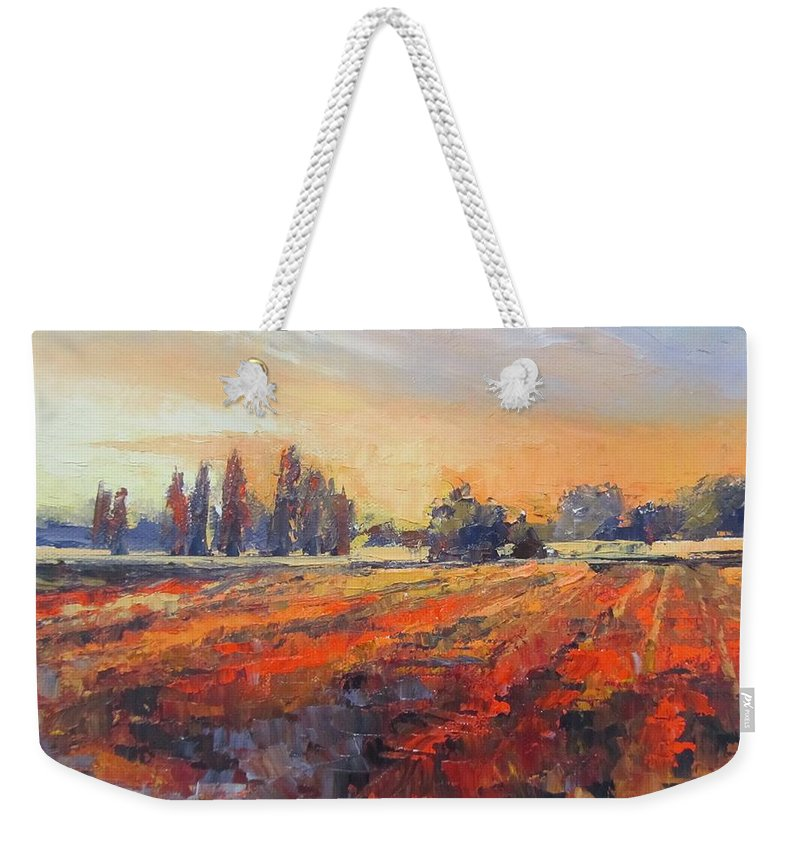 Landscape Weekender Tote Bag featuring the painting Field Of Light Oil Painting by Chris Hobel