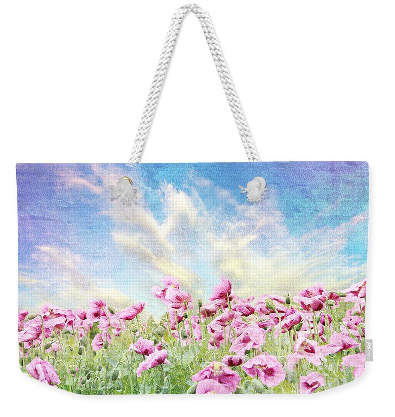 Poppy Weekender Tote Bag featuring the mixed media Field Of Poppies Stillliefe by Heike Hultsch
