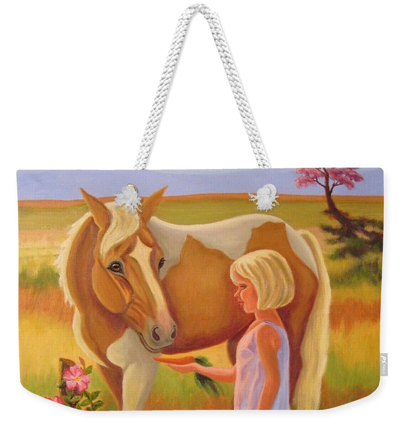 Ruth Soller Weekender Tote Bag featuring the painting Fields Of Blessing by Ruth Soller