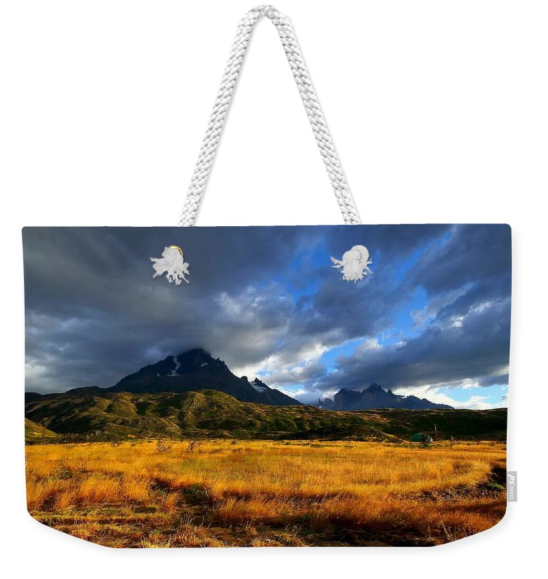 Chile Weekender Tote Bag featuring the photograph Fields Of Patagonia by FireFlux Studios