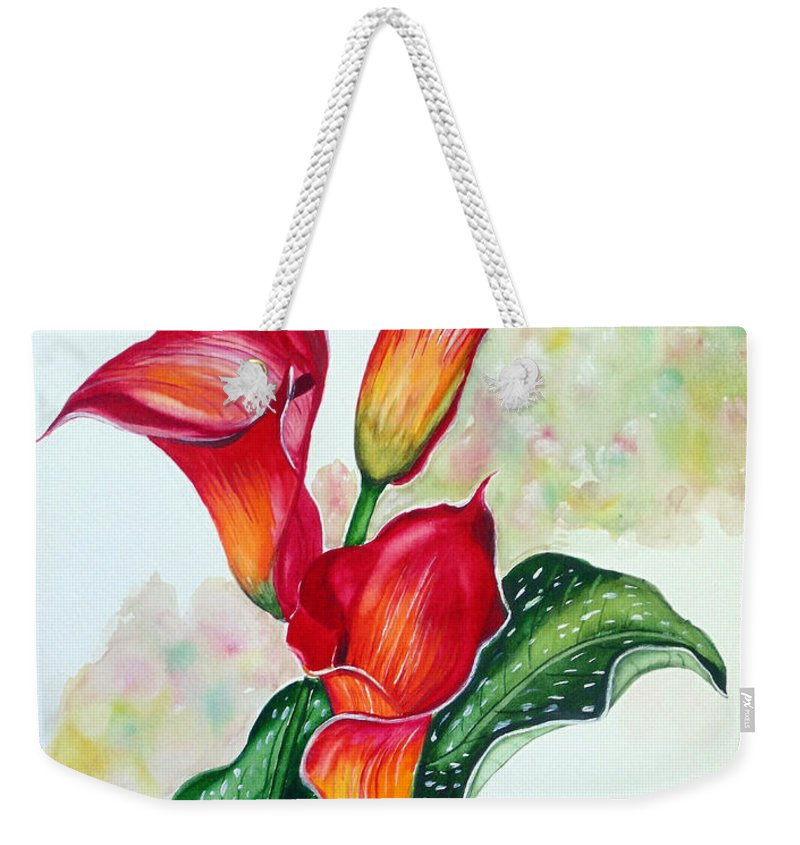 Floral Lily Paintings Flower Paintings Red Paintings Orange Paintings Calla Lily Paintings Tropical Paintings Caribbean Paintings  Greeting Card Paintings Canvas Paintings Poster Paintings Weekender Tote Bag featuring the painting Fiery Callas by Karin Dawn Kelshall- Best