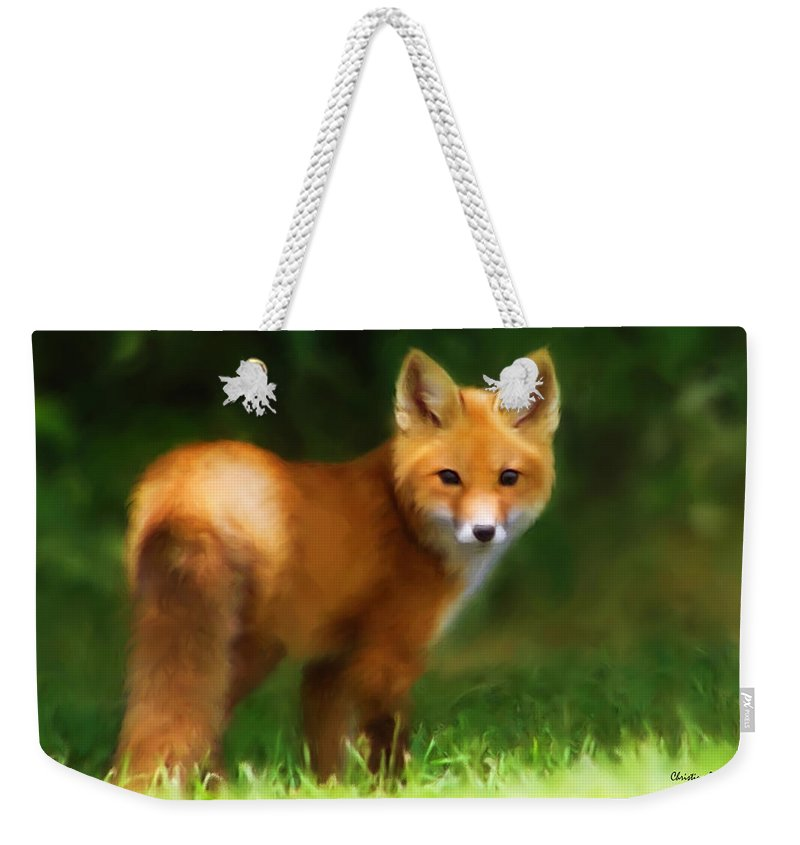 Fox Weekender Tote Bag featuring the photograph Fiery Fox by Christina Rollo