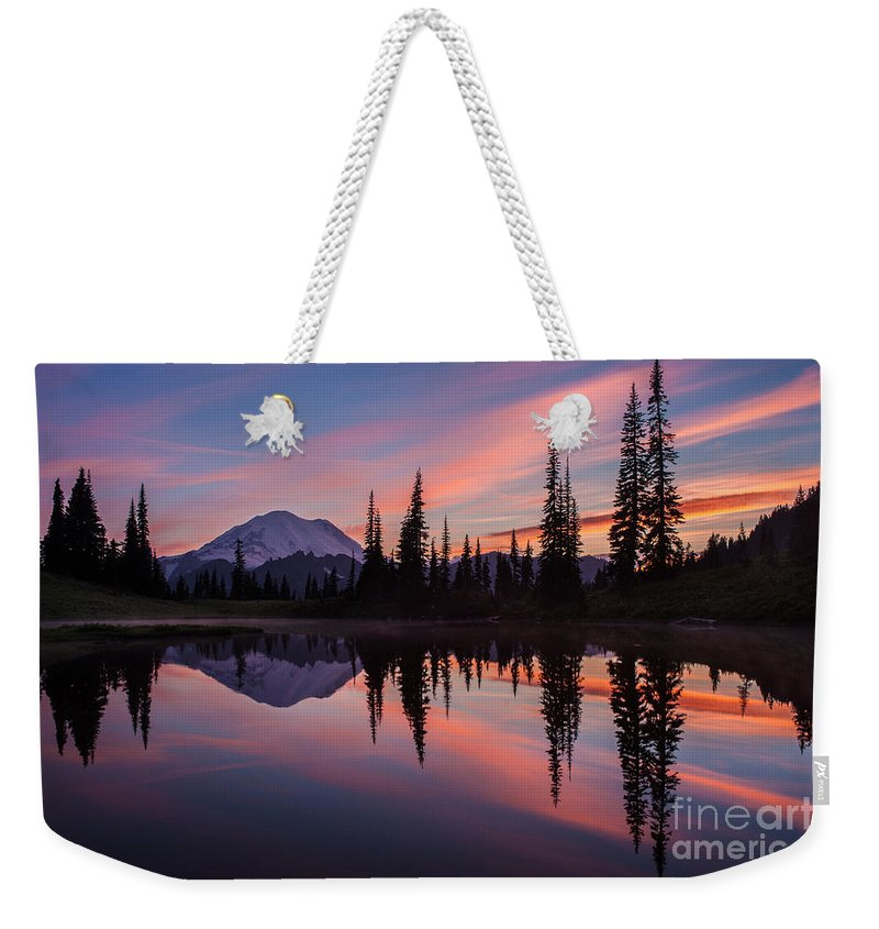 Rainier Weekender Tote Bag featuring the photograph Fiery Rainier Sunset by Mike Reid