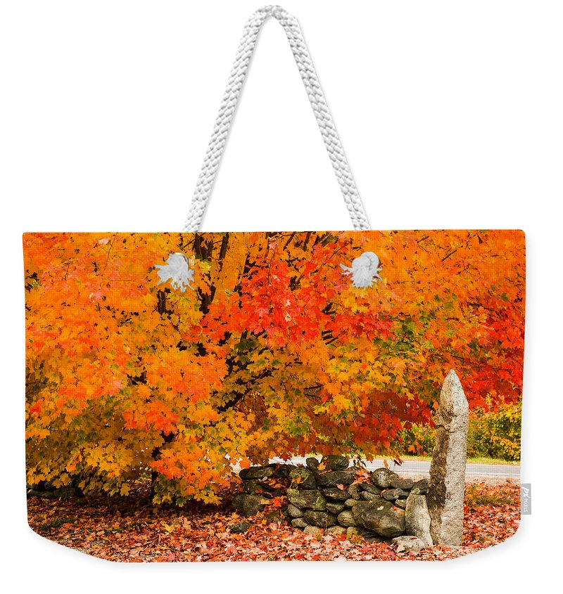 Autumn Foliage New England Weekender Tote Bag featuring the photograph Fiery Rock Wall by Jeff Folger