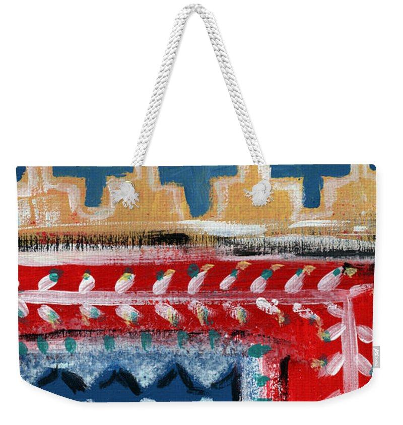 Fiesta Weekender Tote Bag featuring the mixed media Fiesta 3- Colorful Pattern Painting by Linda Woods