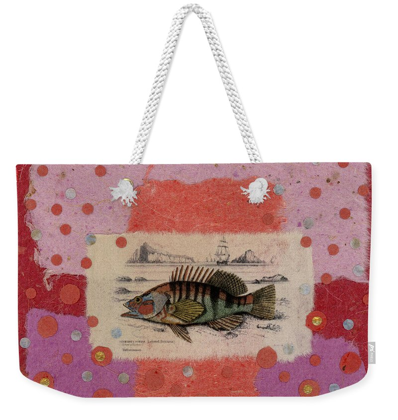 Fish Weekender Tote Bag featuring the mixed media Fiesta Fish Collage by Carol Leigh