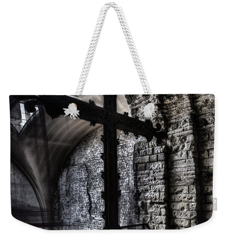 Arch Weekender Tote Bag featuring the photograph Fifteenth Century Cross by Evie Carrier