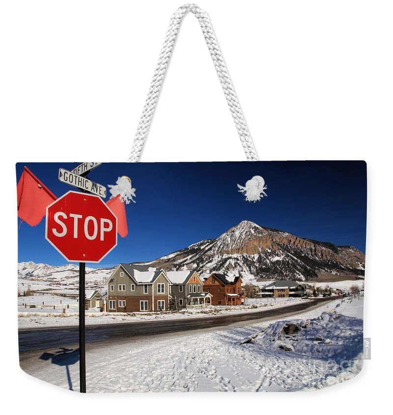 Fifth And Gothic Weekender Tote Bag featuring the photograph Fifth And Gothic by Adam Jewell