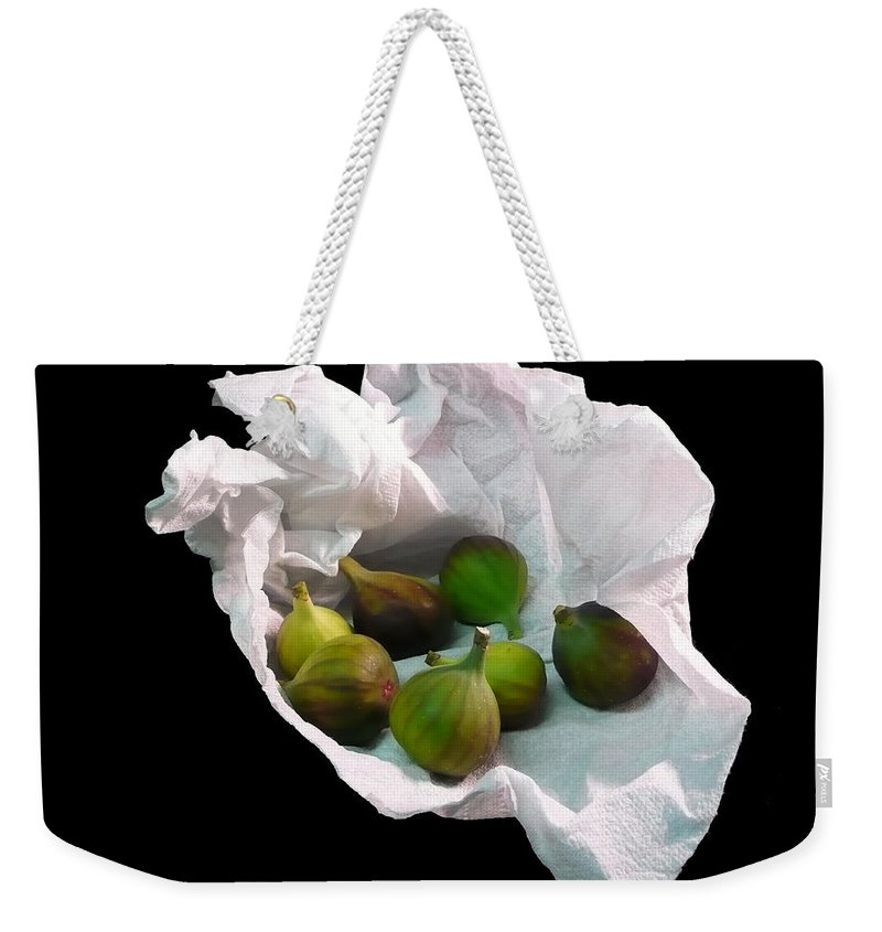 Digital Weekender Tote Bag featuring the photograph Figs In A Napkin by Richard Ortolano