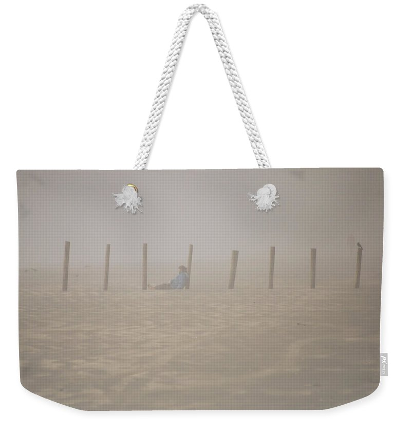 Galveston Weekender Tote Bag featuring the photograph Figure In The Fog - A Moment Earlier by Allen Sheffield