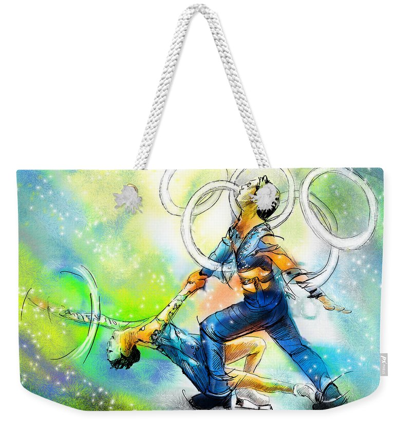 Sports Weekender Tote Bag featuring the painting Figure Skating 01 by Miki De Goodaboom