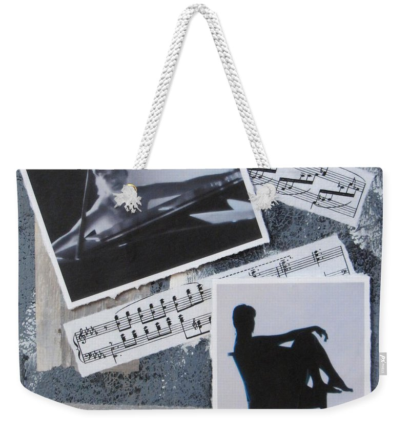 Photos Weekender Tote Bag featuring the mixed media Figures by Anita Burgermeister