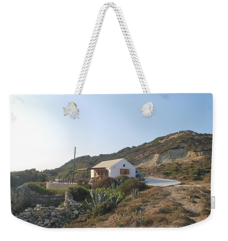 Fiki Bay Bar Weekender Tote Bag featuring the photograph Fiki Bay Bar by George Katechis