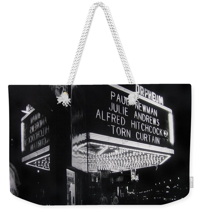 Film Homage Alfred Hitchcock Torn Curtain 1966 Orpheum Theater St. Paul Minnesota 1966 Black And White Weekender Tote Bag featuring the photograph Film Homage Alfred Hitchcock Torn Curtain 1966 Orpheum Theater St. Paul Minnesota 1966 by David Lee Guss
