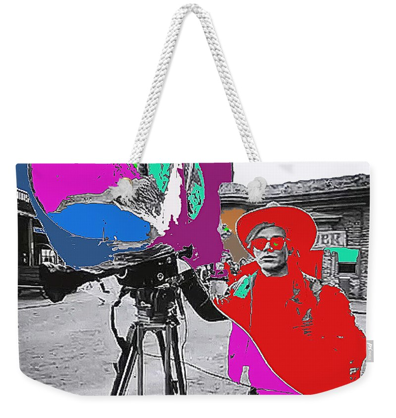 Film Homage Andy Warhol Lonesome Cowboys Old Tucson Arizona 1968-2013 Color Added Weekender Tote Bag featuring the photograph Film Homage Andy Warhol Lonesome Cowboys Old Tucson Arizona 1968-2013 by David Lee Guss
