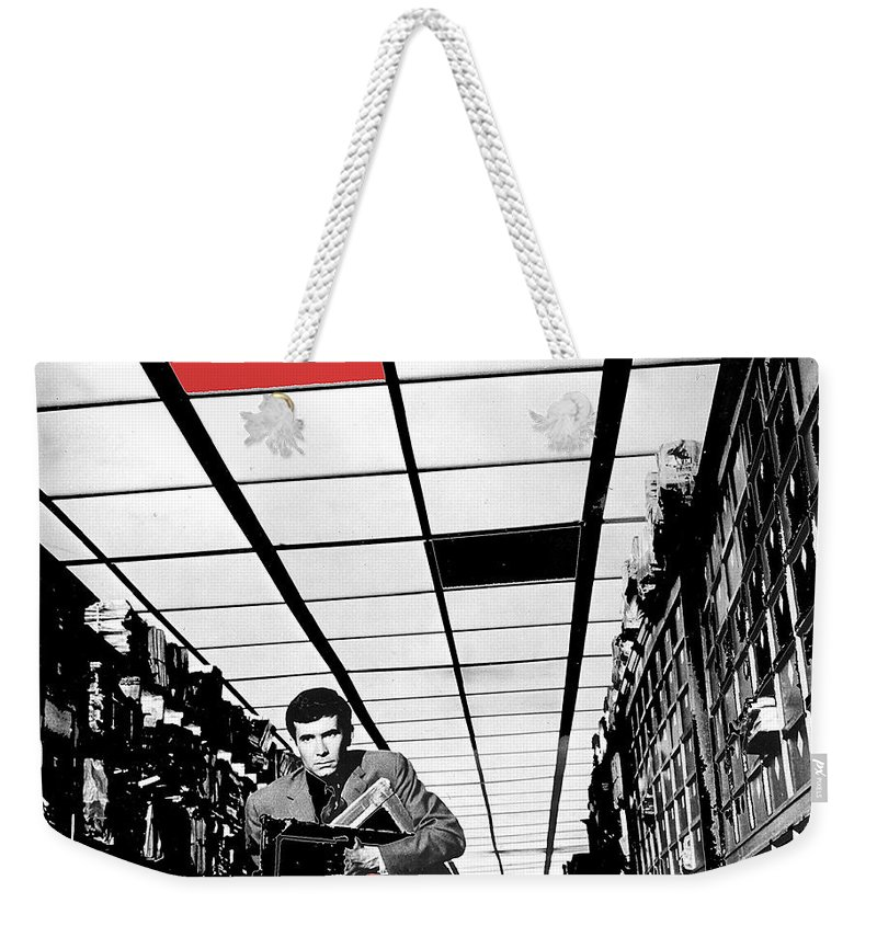 Film Homage Anthony Perkins Orson Welles The Trial 1962 Color Added Weekender Tote Bag featuring the photograph Film Homage Anthony Perkins Orson Welles The Trial 1962 by David Lee Guss