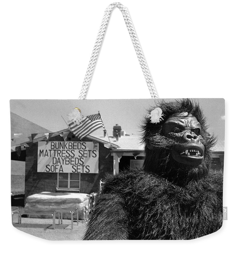 Film Homage Barbara Payton Bride Of The Gorilla 1951 Gorilla Mascot July 4th Mattress Sale 1991 Black And White Weekender Tote Bag featuring the photograph Film Homage Barbara Payton Bride Of The Gorilla 1951 Gorilla Mascot July 4th Mattress Sale 1991 by David Lee Guss