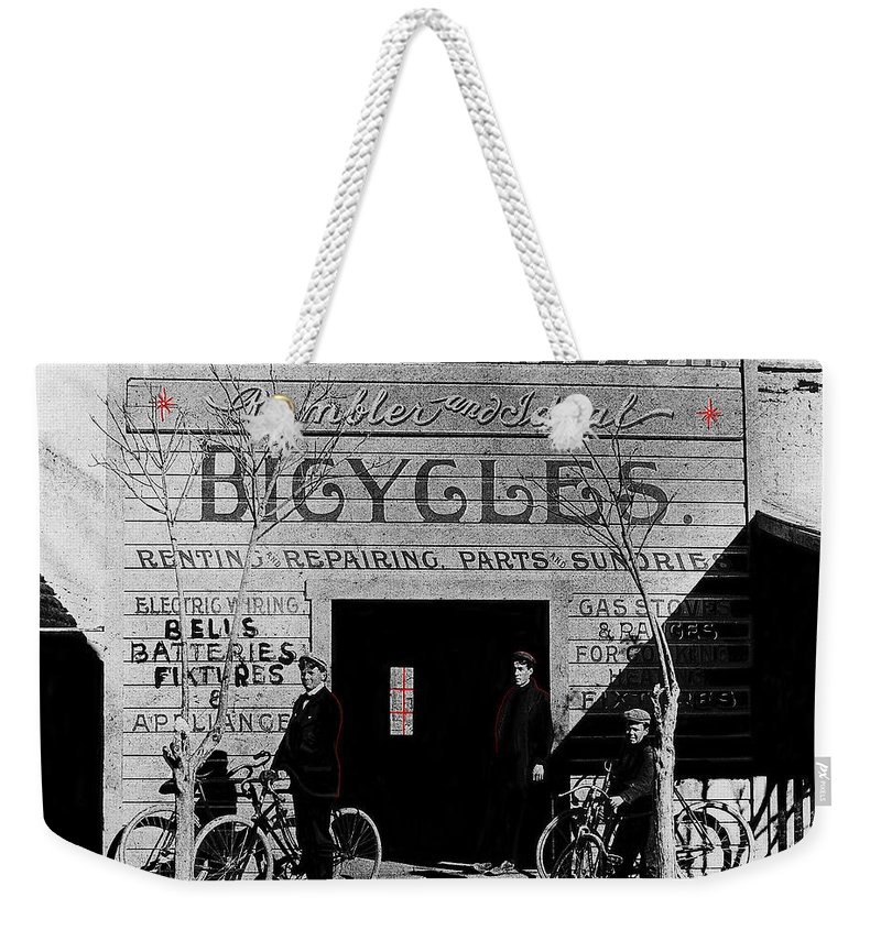 Film Homage Butch Cassidy 1969 Russell And Sheldon Bicycles C.1895 Tucson Arizona 2008 Color Drawing Added Weekender Tote Bag featuring the photograph Film Homage Butch Cassidy 1969 Russell And Sheldon Bicycles C.1895 Tucson Arizona 2008 by David Lee Guss