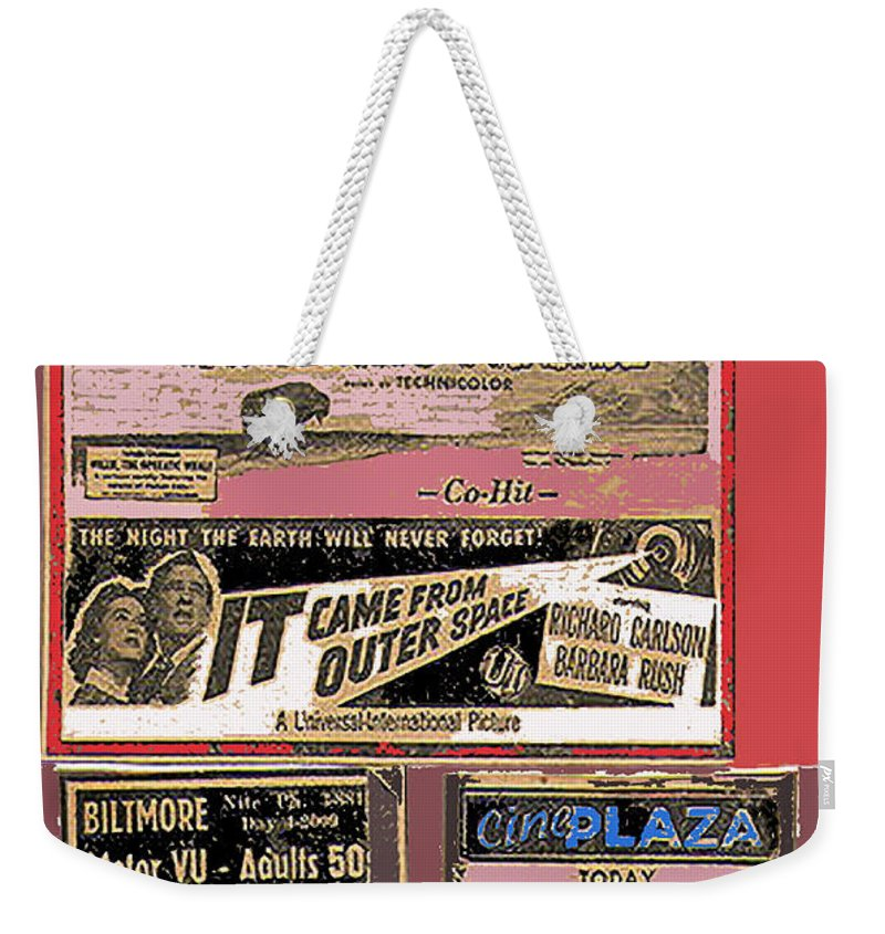 Film Homage Collage Drive-in Ads 1953 Tucson Arizona Color Added Weekender Tote Bag featuring the photograph Film Homage Collage Drive-in Ads 1953 Tucson Arizona 2008 by David Lee Guss
