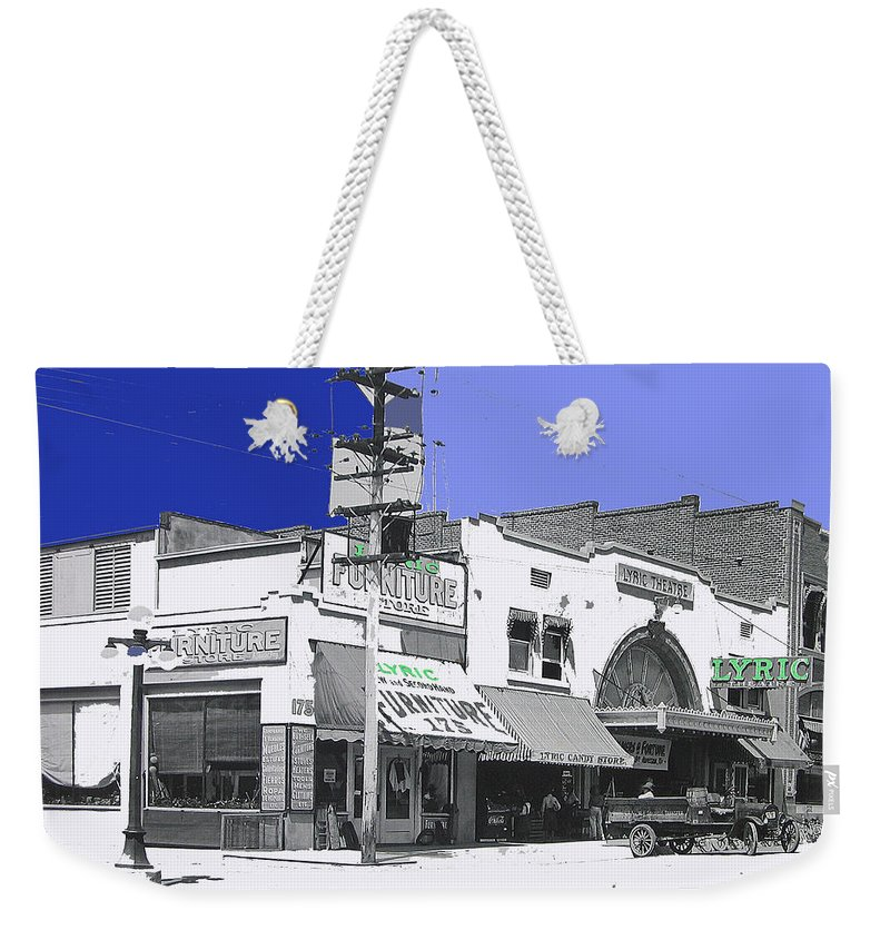 Film Homage Director Allan Dwan Soldiers Of Fortune 1919 Lyric Theater Tucson Arizona Color Added Weekender Tote Bag featuring the photograph Film Homage Director Allan Dwan Soldiers Of Fortune 1919 Lyric Theater Tucson Arizona 1919-2008 by David Lee Guss