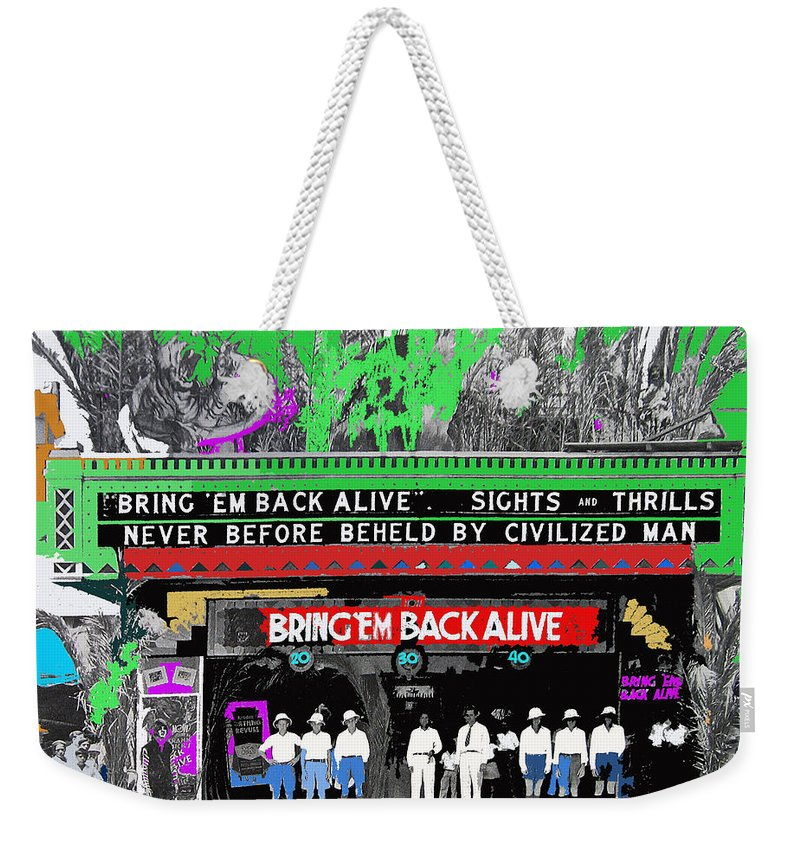 Film Homage Frank Buck Bring 'em Back Alive 1932 Fox Tucson Arizona 1932 Collage Color Added Weekender Tote Bag featuring the photograph Film Homage Frank Buck Bring 'em Back Alive 1932 Collage Fox Tucson Arizona 1932-2011 by David Lee Guss