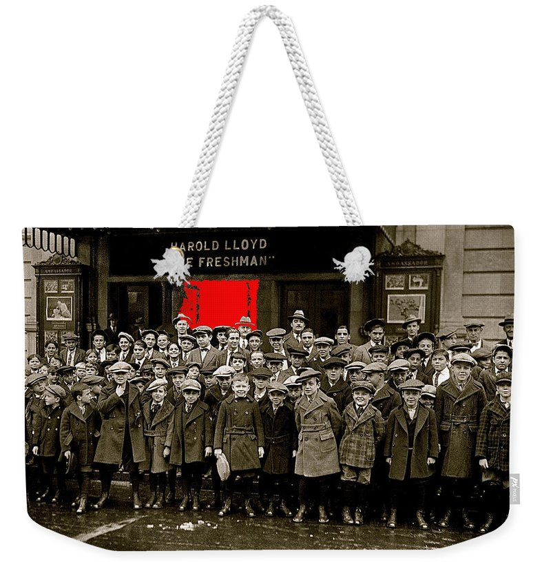 Film Homage Harold Lloyd The Freshman City Orphans Ambassador Theater Washington D.c. 1925 Weekender Tote Bag featuring the photograph Film Homage Harold Lloyd The Freshman City Orphans Ambassador Theater Washington D.c. 1925-2010 by David Lee Guss