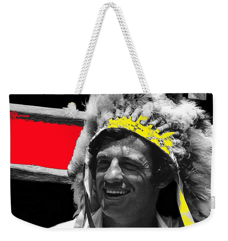 Film Homage Jean-paul Belmondo Fake Indian Bonnet Love Is A Funny Thing 1969 Old Tucson Arizona 1969-2008 Color Added Weekender Tote Bag featuring the photograph Film Homage Jean-paul Belmondo Fake Indian Bonnet Love Is A Funny Thing Old Tucson Az 1969-2008 by David Lee Guss