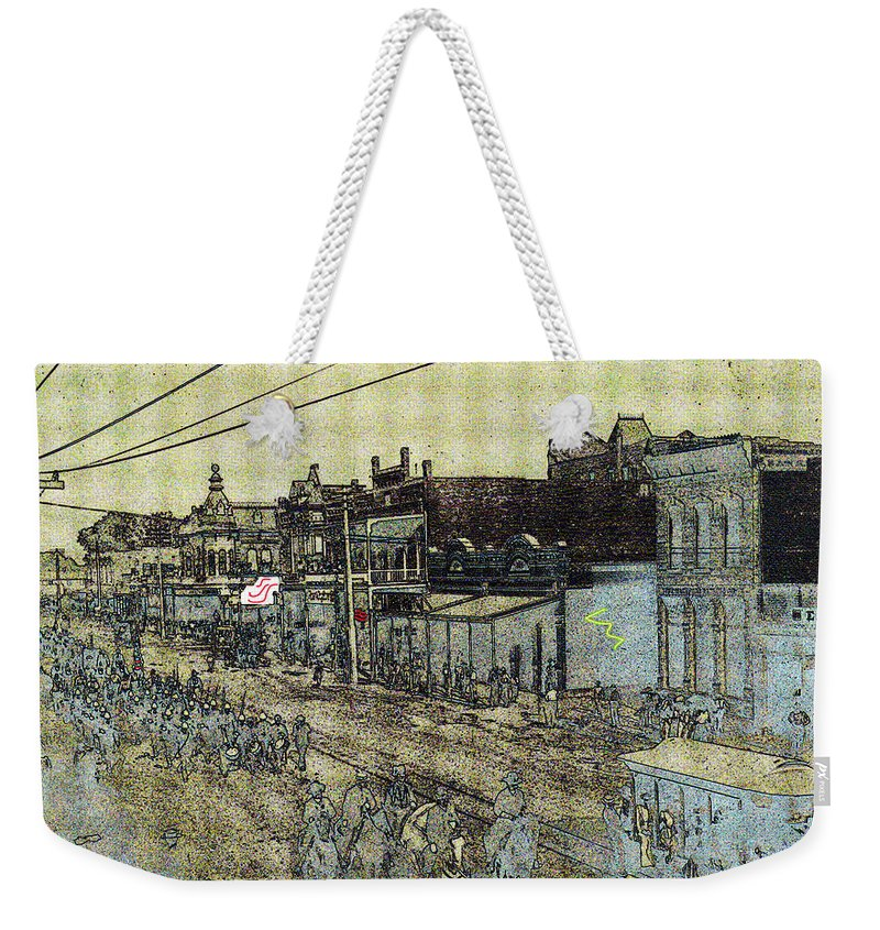Film Homage John Wayne The Shootist 1976 Parade Phoenix Arizona C.1890 Color Texture Added Weekender Tote Bag featuring the photograph Film Homage John Wayne The Shootist 1976 Parade Phoenix Arizona C.1890-2009 by David Lee Guss
