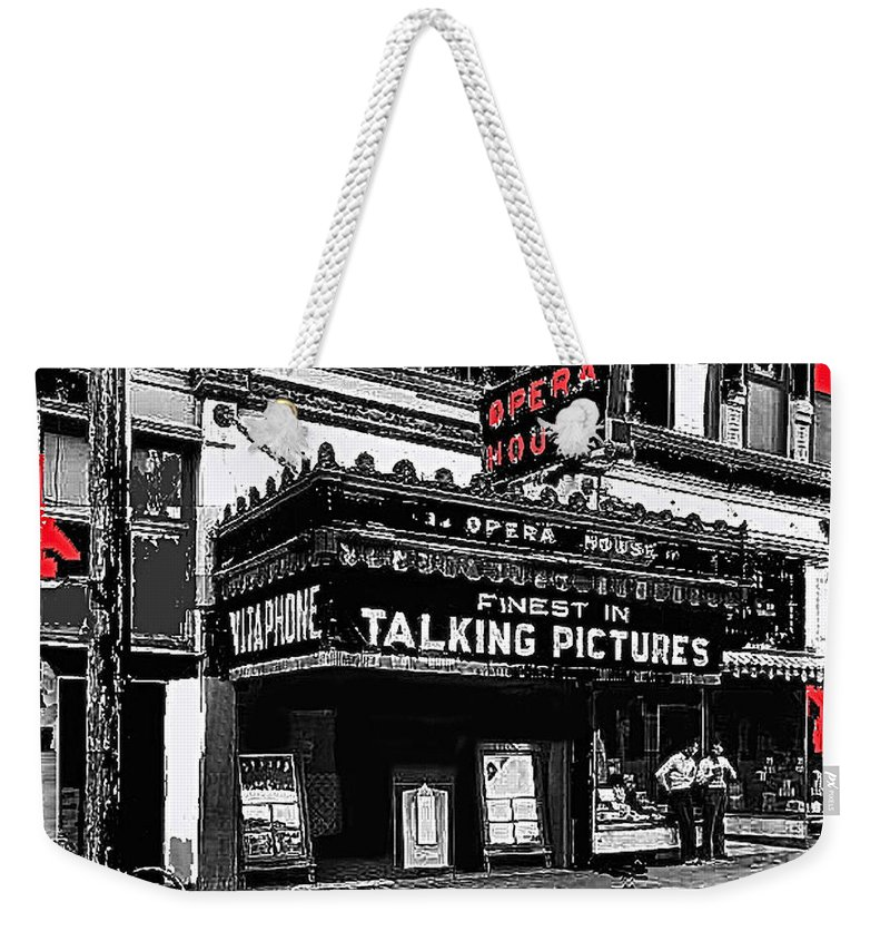Film Homage Opera House Tucson Arizona Circa 1929 Color Added Weekender Tote Bag featuring the photograph Film Homage Opera House Tucson Arizona Circa 1929-2012 by David Lee Guss
