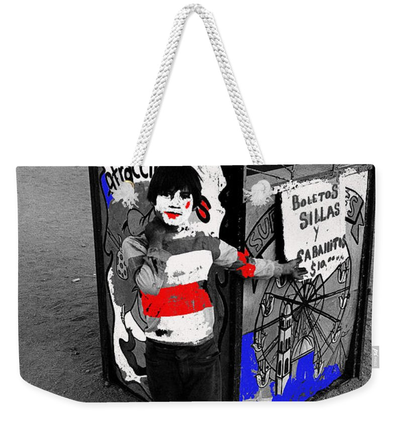 Film Homage Santa Sangre 1989 Traveling Carnival Us Mexico Border Naco Sonora Mexico 1980 Color Added Weekender Tote Bag featuring the photograph Film Homage Santa Sangre 1989 Traveling Carnival Us Mexico Border Naco Sonora Mexico 1980-2010 by David Lee Guss