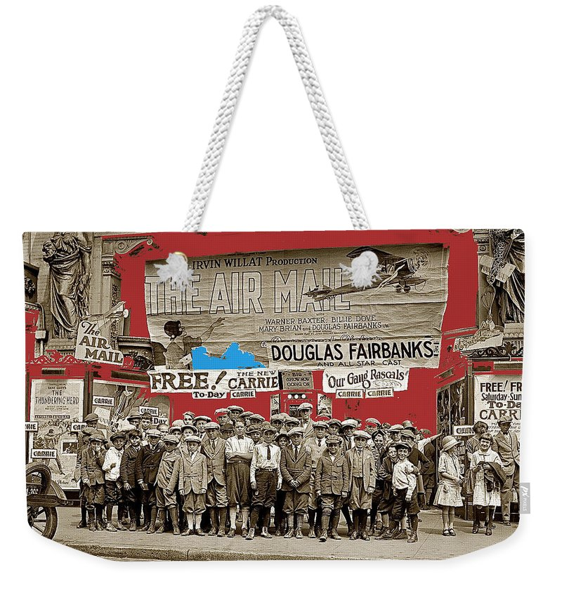 Film Homage The Air Mail Leader Theater Washington Weekender Tote Bag featuring the photograph Film Homage The Air Mail Leader Theater Washington D.c. 1925-2010 by David Lee Guss
