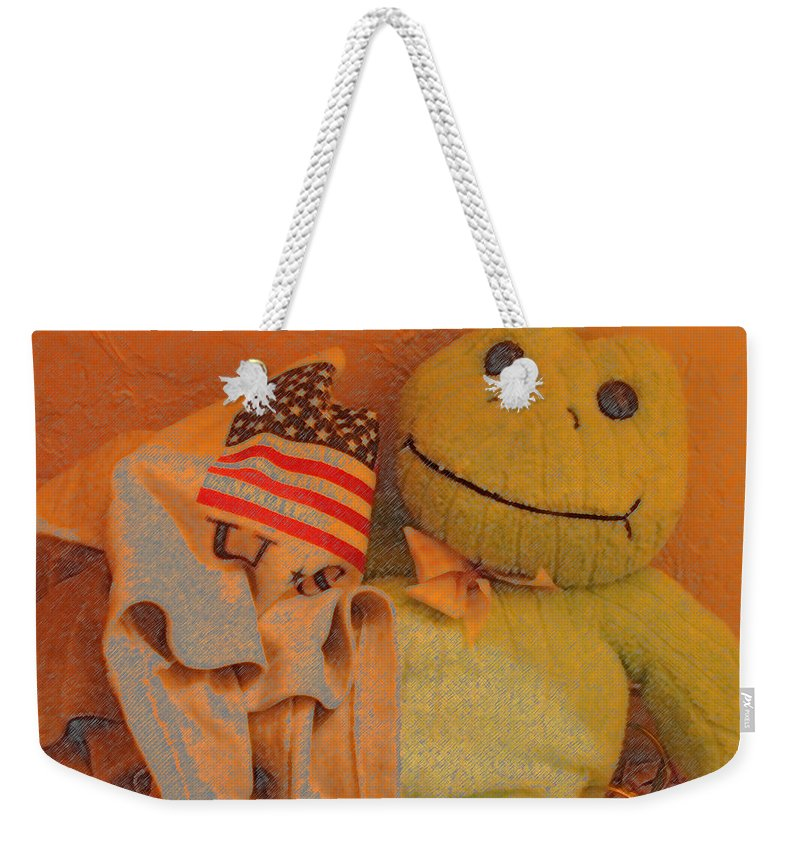 Film Homage The Muppet Movie 1979 Number 1 Froggie Colored Pencil American Flag Casa Grande Arizona 2004 Weekender Tote Bag featuring the photograph Film Homage The Muppet Movie 1979 Number 1 Froggie Colored Pencil American Flag Casa Grande Az 2004 by David Lee Guss