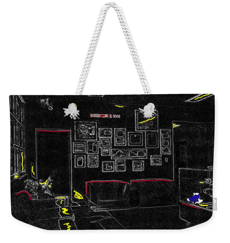 Film Homage Tora Tora Tora 1970 Uss Arizona Memorial U Of A 1985-2008 Color Drawing Texture Added Weekender Tote Bag featuring the photograph Film Homage Tora Tora Tora 1970 Uss Arizona Memorial U Of A 1985-2008 by David Lee Guss