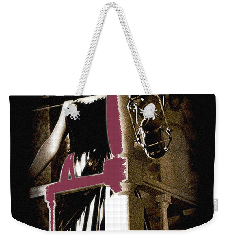 Film Noir Dance Hall Girl Looks Down On Robert Mitchum The King Of Noir Filming Old Tucson Az 1968 Weekender Tote Bag featuring the photograph Film Noir Dance Hall Girl Looks Down On Robert Mitchum The King Of Noir Filming Old Tucson Az 1968 by David Lee Guss