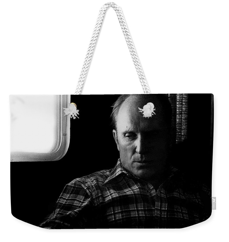 Film Noir Robert Duvall The Outfit 1973 Pursuit Of D.b. Cooper Set Trailer Tucson Arizona 1980-2008 Weekender Tote Bag featuring the photograph Film Noir Robert Duvall The Outfit 1973 Pursuit Of D.b. Cooper Set Trailer Tucson Arizona 1980-2008 by David Lee Guss