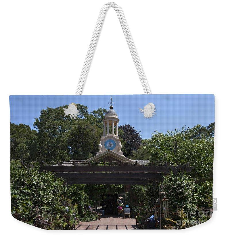 Filoli Weekender Tote Bag featuring the photograph Filoli Clock Tower Garden Shop by Jason O Watson